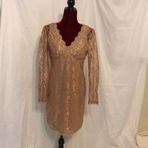 Gold lace long sleeve dress